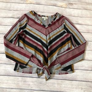 Monteau Striped Tie Front Long Sleeve Top Size L